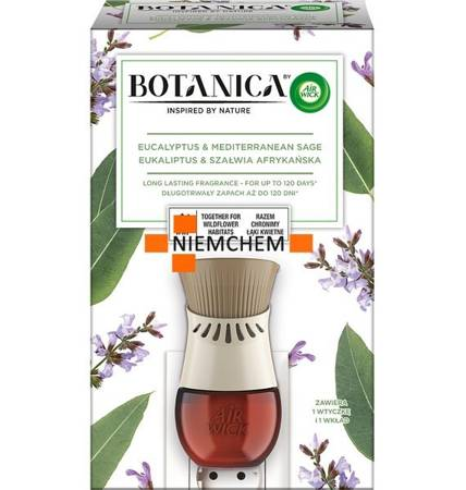 Botanica by Air Wick Electric Odświeżacz Powietrza Eukaliptus i Szałwia Afrykańska Komplet