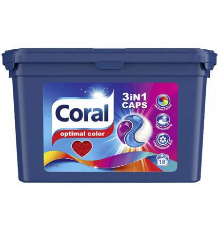 Coral 3in1 Optimal Color Kapsułki do Prania na 18pr DE