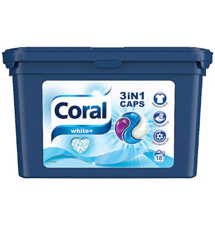 Coral 3in1 White+ Kapsułki do Prania na 18pr DE
