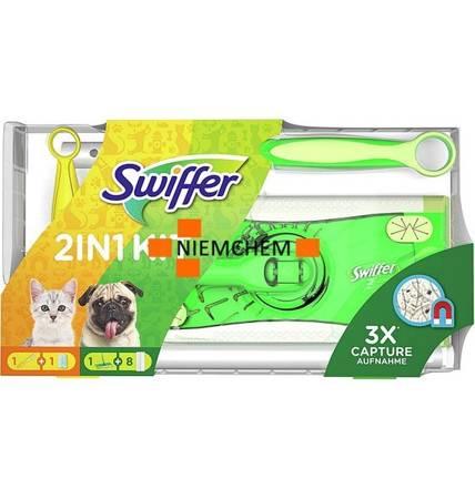 Swiffer Mega Zestaw Mop + Wkłady 8szt+ Miotełka DE